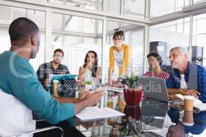 Business people at desk during meeting