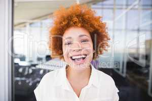 Close up portrait of businesswoman laughing