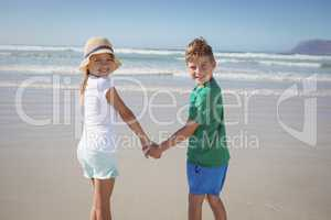 Portrait of siblings holding hands on shore at beach
