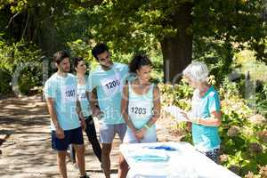 Athletes registering themselves for marathon