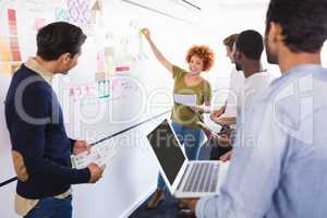 Colleagues looking at businesswoman explaining plan on whiteboard