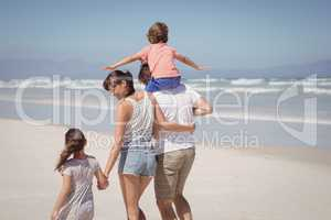 Rear view of happy family walking at beach