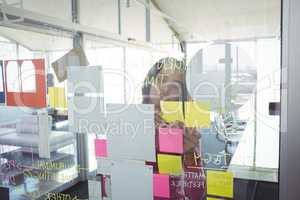 Businesswoman seen through adhesive notes on glass in creative office