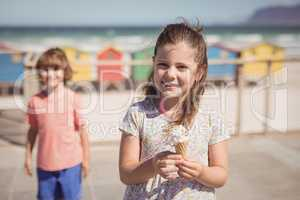 Portrait of smiling girl holding ice cream with brother in background