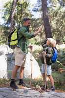 Father and son giving high five while hiking in forest
