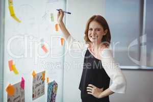 Portrait of smiling executive writing on sticky note
