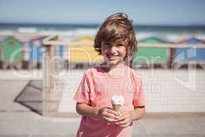Portrait of smiling boy holding ice cream st beach