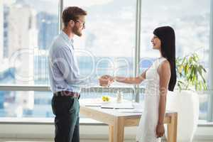 Executives shaking hands with each other in office