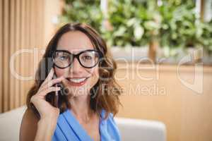 Portrait of executive talking on mobile phone