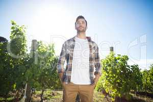 Thoughtful young man standing at vineyard
