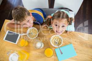 Portrait of smiling sibling having breakfast cereal in kitchen