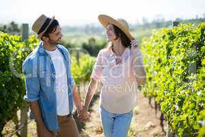 Couple holding hands at vineyard