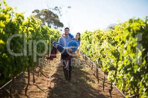 Portrait of man carrying his girlfriend amidst plants at vineyard