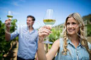 Smiling couple holding wineglasses at vineyard