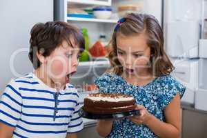 Surprised siblings looking at cake in kitchen