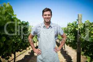 Portrait of farmer at vineyard
