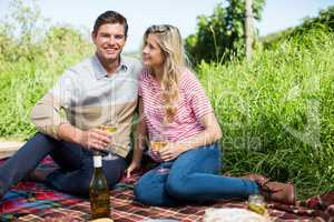 Smiling young couple holding wineglasses on picnic blanket