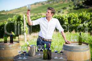 Young man holding wineglass by table at vineyard