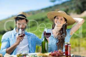 Smiling woman with red wine sitting by male friend at table