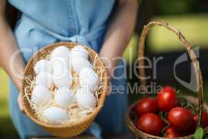 Mid section of woman holding eggs by tomatoes