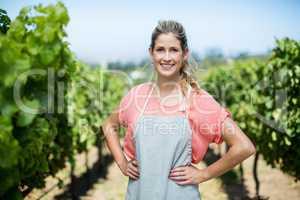 Portrait of female farmer at vineyard