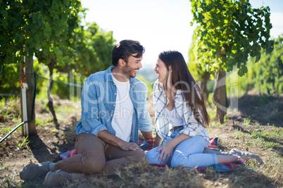 Full length of cheerful couple