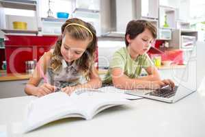 Girl doing her homework while boy using laptop in kitchen