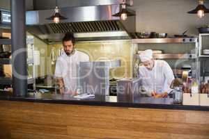 Chefs working in commercial kitchen