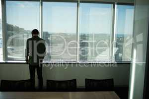 Rear view of businessman standing by window in meeting room