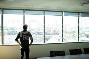 Rear view pf businessman looking through window at workplace