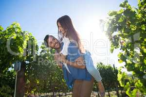 Happy young couple piggybacking against sky at vineyard