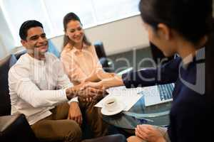 Businessman people shaking hand in office