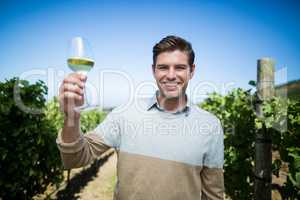Portrait of happy young man holding wineglass at vineyard