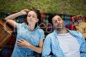 Couple sleeping on picnic blanket