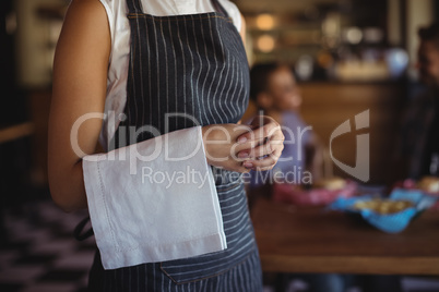 Waitress with napkin standing at restaurant
