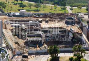 Ramat HaYal, ISRAEL - DECEMBER 9, 2017: Panoramic view of the parking garage collapses in one of the greatest cities in Israel on September 5, 2016. Ramat Hachayal locals shocked and shaken by building collapse