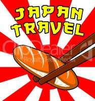 Japan Travel Means Japanese Tourism 3d Illustration