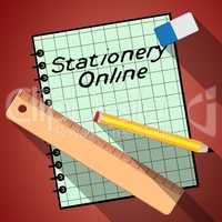 Stationery Online Represents Web Supplies 3d Illustration