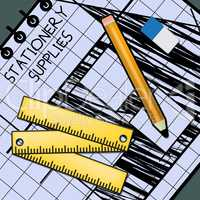 Stationery Supplies Shows School Materials 3d Illustration