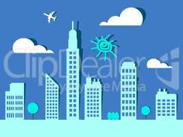 Skyscraper Buildings Representing Corporate Cityscape 3d Illustr