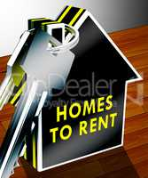 Homes To Rent Shows Real Estate 3d Rendering