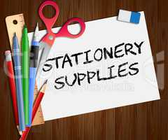 Stationery Supplies Paper Shows School Materials 3d Illustration