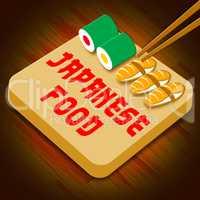 Japanese Food Means Japan Cuisine 3d Illustration
