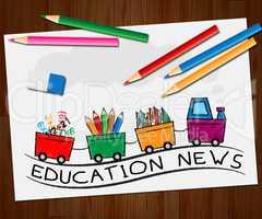 Education News Indicating Social Media 3d Illustration