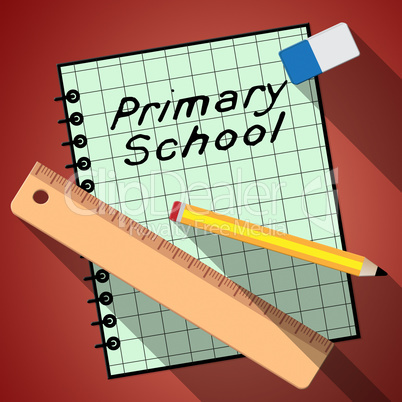 Primary School Represents Lessons And Educate 3d Illustration