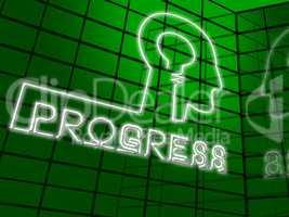 Progress Lightbulb Showing Betterment Headway 3d Illustration