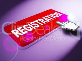 Registration Key Shows Membership Admission 3d Rendering