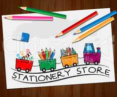 Stationery Store Shows Office Supplies Shops 3d Illustration