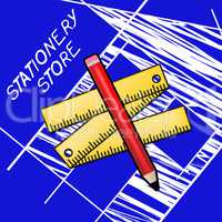 Stationery Store Meaning Office Supplies Shops 3d Illustration