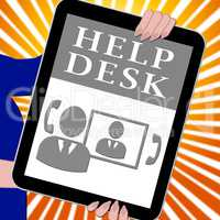 Helpdesk Tablet Shows Faq Advice 3d Illustration